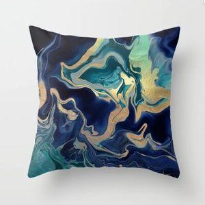 Society6 gold/indigo marble throw pillow